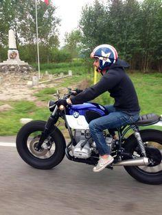 BMW airhead stripped down standard custom with blue & white tank, black rims, custom and firestones