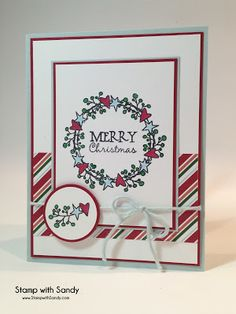 Handmade Christmas card by Sandy using Holiday Greetings from Verve. #vervestamps