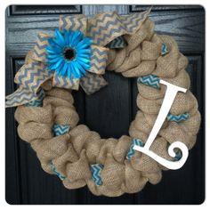 Chevron Burlap Wreath with Initial- Front Door Wreath- Wedding Gift- Monogram Wreath- Spring Wreath