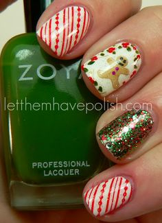 Two coats of Zoya's Purity. For my Thumb and Ring finger I alternated coats of O.P.I Fresh Frog of Bel Air and Gettin' Miss Piggy with It  t... Four coats total of glitter. For the Candy Cane nails I used Konad plate M65 and Konad Red Special Polish. For the Gingerbread man I used Bundle Monster plate BM222 and Bettina #195. I accented the stamp with Zoya Shawn, Sookie and Charisma.