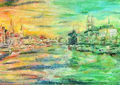 "Saatchi Art Artist OP Freuler; Painting, ""Zurich at Twilight"" #art"