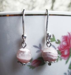 New earring model Ligh Rose. Silver 950 and gemstone Rhodochrosite. #HandMade