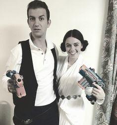 Han Solo and Princess Leia Halloween costume  sc 1 st  Pinterest & easy peasy Han Solo u0026 Princess Leia costumes...white dress sock ...