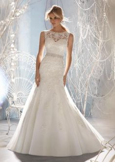 d8c9b082c8b Bridal gown from Mori Lee by Madeline Gardner Style 1957 Beaded Lace  Appliques on Tulle (removable beaded organza tie sash)