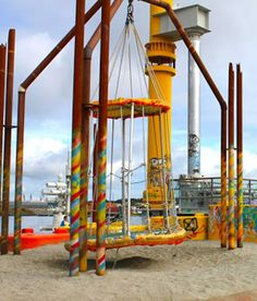 This playground in Stavanger, Norway is made of recycled materials from oil rigs.