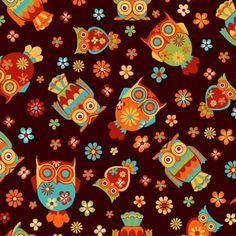 Tecido Nacional - 100% algodão - CORUJA COLORIDA - CJ6183-2 :: Eva e Eva Tecidos Para Patchwork R$ 12.50