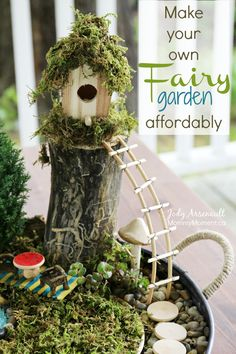 I wanted to make a fairy garden on a budget. With a little bit of creativity, and some fantastic finds, I present to you our fairy garden.