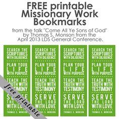 FREE PRINTABLE: Missionary Bookmarks | aYearOfFHE.blogspot.com