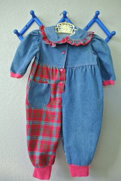 Vintage Baby Clothes  Denim & Plaid Jumper  Size 24 by NellsNiche, $18.00