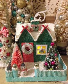 Lighted Glitter House Christmas House Putz House by ThePokeyPoodle
