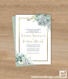 Succulent Wedding Invitation / Greenery and Gold Geometric / Green Cactus and Gold Calligraphy ▷ Printable File {or} Printed & Shipped by JadeForestDesign on Etsy