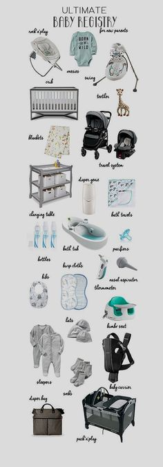 Ultimate Baby Registry for New Parents A list of everything you really need Newborn Necessities Baby registry must haves Baby registry checklist 2015 Baby Registry Must Haves, Baby Registry Checklist, New Baby Checklist, Baby Checklist Newborn, Buy Buy Baby Registry, Baby Shower Checklist, Hospital Bag Checklist, Getting Ready For Baby, Preparing For Baby