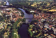 Aerial photomontage showing La Vienne at Confolens, Charente, France