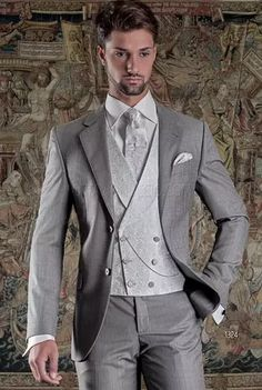 ONGala 1324 - 2 buttons light grey formal suit with double-breasted vest in silk