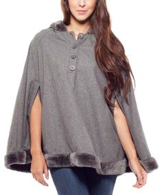 Look at this Cecico Gray Faux Fur Hooded Cape on #zulily today!