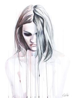 Truth & Consequence - watercolor drip painting women's portrait by defectivebarbie