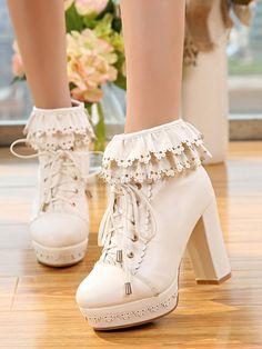 Lolitashow in Weiß Lolita Stiefel mit Blockabsatz