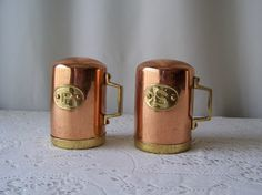 Vintage Copper Salt and Pepper Shakers Kitchen by cynthiasattic