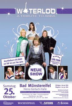 ABBA-Night 40 Jahre ABBA, Musikgeschichte und Legende.  Erleben Sie mit Waterloo a Tribute To ABBA, eine mitreißende Hommage und eine wunderbare Reise in Die Zeit mit Abba, ihrer glanzvollen Nostalgie und einzigartigen Bühnenpräsenz.  Ort und Location: Heinz Gerlach Halle Adresse: Im Goldenen Tal 6 Bundesland: Nordrhein-Westfalen Datum und Uhrzeit: 25-10-2014 20:00 Uhr Veranstalter: klinkhammer-events  Mehr Lesen: www.mv-events.de