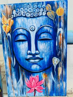 Budha Painting, Mural Painting, Indian Art Paintings, Modern Art Paintings, Buddha Drawing, Buddha Artwork, Art Drawings Sketches Simple, Diy Canvas Art, Acrylic Art