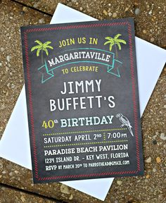 Jimmy Buffett / Margaritaville inspired birthday invitation.  Set of 20, professionally printed with envelopes.  Customizable. by CharmingTouchParties on Etsy