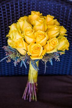 All yellow wedding bouquet // Photo By: http://beautifuldayphotography.com