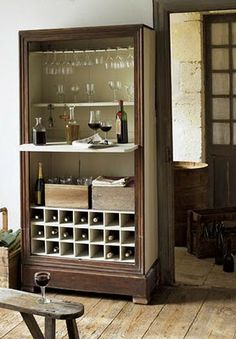 you could turn a closet or an old armoire into a wine bar...make more finished looking in kitchen pantry