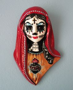RESERVED For Gina Day of the Dead VIRGIN MARY Bust