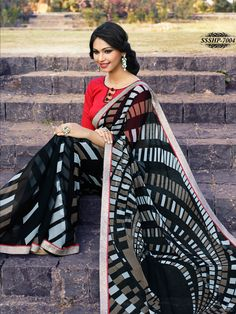 #Black #Colour #Georgette #Lace #Border #Saree.... shop Now @ www.glamyshop.com