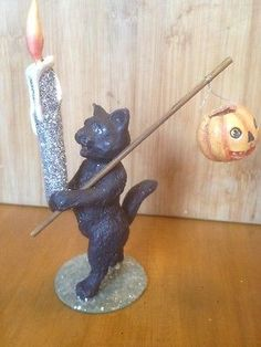 Bethany Lowe Cat with Candle--discontinued Bethany Lowe, Trick Or Treat, Incense, Halloween Decorations, Candle Holders, Candles, Cats, Gatos, Porta Velas