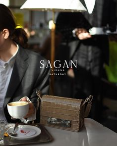 SAGAN Vienna bags for every day. Saturday's morning in Viennese coffee house. CROSSBODY bag nano in beige croco emboss leather. Lady Dior, Emboss, Vienna, Crossbody Bag, Beige, Coffee, Day, Leather, House