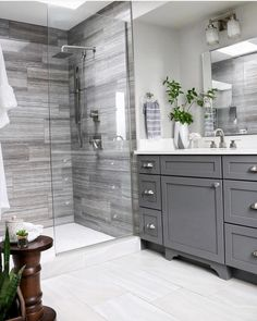 Double Bathroom Vanity Designs Ideas - If space authorizations, 2 sink areas provide wonderful benefit in shared washrooms. Locate ideas for bathroom vanities with double the space, . bathroom ideas Top 10 Double Bathroom Vanity Design Ideas in 2019 Bathroom Renos, Bathroom Flooring, Bathroom Renovations, Bathroom Showers, Bathroom Makeovers, Basement Bathroom Ideas, Small Master Bathroom Ideas, Master Shower Tile, Master Bathrooms