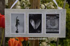"""Foto-Wortschild """"i love u"""" auf einem bestempelten und auf alt gemachtem Holz, grau lasiert - fix und fertig. Alle Fotos sind in diesem Angebot schon komplett auf Holz aufgeklebt. Außerdem hat das Schild eine Aufhängung aus weißem Band. Das fertige Wort kommt dann sicher verpackt in ein paar Tagen zu Dir."""