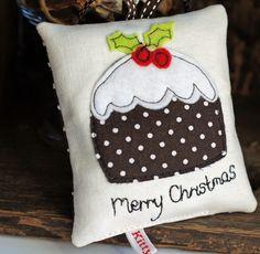 Christmas pud mini hanging cushion