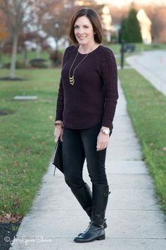 Outfit Ideas: Plum + BlackFashion Over 40: Cable Sleeve Sweater + Black Jeans