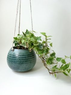 Hanging Planter - Hanging Vase for succulent plants, cacti, and small plants -Blue Green Handmade Ceramic hanging planter by viCeramics on Etsy https://www.etsy.com/uk/listing/464060471/hanging-planter-hanging-vase-for