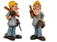 Funny figures - timmerman.  De Funny figures serie bestaat uit polyresin karikaturen van ca. 15 cm hoog. Spaar ze allemaal voor een unieke collectie! Deze Funny figure is de karikatuur van een timmerman. Het figuur is ca. 15 cm hoog.