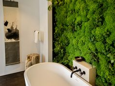 HGTV loves this white modern bathroom with a vibrant living wall on HGTV.com.