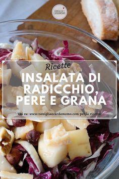 of red radicchio parmesan type cheese 3 pears 12 shelled walnuts 16 shelled hazelnuts half a lemon extra virgin olive oil to taste balsamic vinegar to taste (optional) Salt to taste Easy Pasta Recipes, Stuffed Shells, Balsamic Vinegar, Parmesan, Lemon, Shelled, Salad, Cheese, Pears