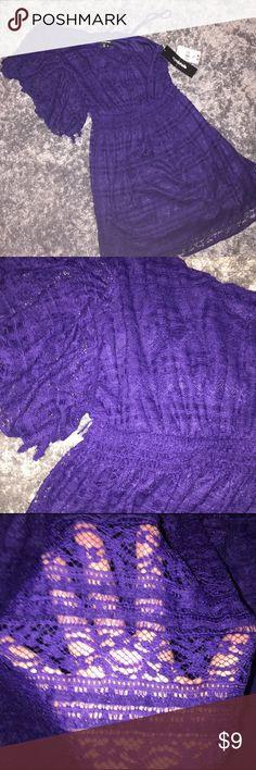 Summer Purple Lace Dress Casual lace summer dress My Michelle Dresses One Shoulder
