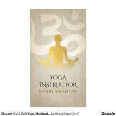 Elegant Gold Foil Yoga Meditation Pose Om Symbol Business Card