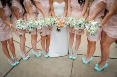 Modern Come Vintage Austin Texas Wedding In Baby Pink & Turquoise