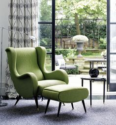 LOVE this chair and ottoman! is part of Luxury interior design - Residential Interior Design, Luxury Interior Design, Deco Furniture, Cool Furniture, Upholstered Furniture, 1960s Interior, Mid Century Decor, Deco Design, Chair And Ottoman
