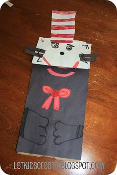 Cat in the Hat Paper Bag Puppet