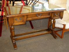 Just in time for students, a lovey oak desk with leather inset top for only $349.00! SOLD!!