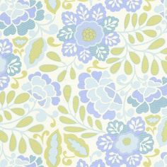 Taza Aqua Floral Fabric by Carousel Designs (babybedding)