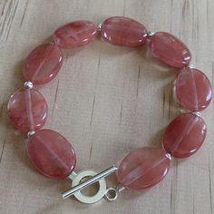 Oval Cherry Quartz Sterling Silver Bracelet