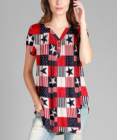 Love this Red & White Geometric Pleated Button-Front Tunic - Plus on #zulily! #zulilyfinds