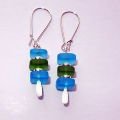 Blue and Green Sea Glass Dangle Earrings by CloudNineDesignz, $15.00