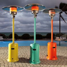 Colourful outdoor patio heater covering an 18-ft. diameter for up to 10 hours. Extend the season of outdoor entertaining under the stars. No open flame or burning embers.